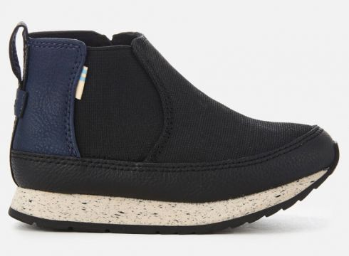 TOMS Toddlers\' Sydney Canvas High Top Trainers - Black - UK 4 Toddler - Schwarz(58374865)