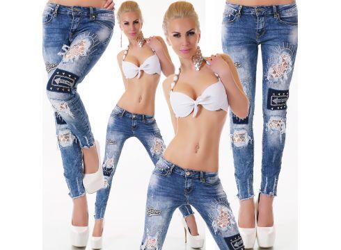 Destroyed Jeans Röhre Aufnäher Bleached Skinny Frayed(90294734)