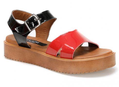 KUUM Kz2504-19 Kırmızı Kadın Deri Sandalet - FLO Ayakkabı(68086962)