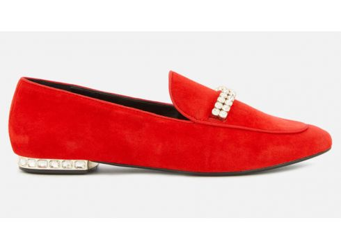 Dune Women\'s Gara Suede Jewelled Heel Loafers - Red - UK 3 - Rot(60011908)