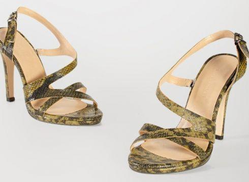 Shoes & More Kadın Haki Yılan Desenli Olexa Topuklu Sandalet(124320803)